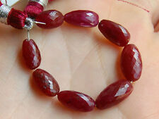 Natural Red Ruby Faceted Nugget Straight Drilled Gemstone Beads 008