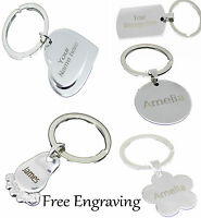 Personalised Keyring Engraved Custom Text or Logo Heart Foot Love Tag Gift Key