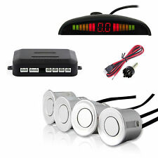 4 Sensors LCD Display Car Backup Parking Radar Sensor Sound Alarm System Silver