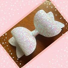 Snow White Shimmer Glitter Fabric Large Hair Bow Clip Bobble 5""