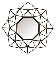 Bronze Geometric Hexagonal Metal Outline Wall Mirror Unique Modern 61cm