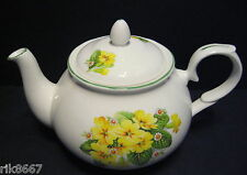 Primrose English Fine Bone China 6 Cup Tea Pot By Milton China (Green Rim)