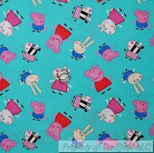 BonEful FABRIC FQ Cotton Quilt Blue Peppa Pig Show Pink B&W Girl Dress Toy Dot S