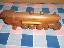"Older Wood Model Train Railroad Engine Modern 7 3/4 Inch Long 2 1/2"" H Intricate"