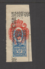 QUEENSLAND 1920 6d Blue GV IMPRESSED DUTY -Revenue-on piece #4- FU