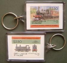 1874 LSWR 0298 Class Beattie Well Tank Train Stamp Keyring (Loco 100)