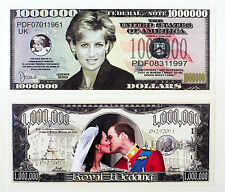 Set of 2 diff. US issued fantasy paper money UK Royals Diana, William and Kate