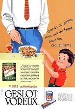 PUBLICITE GESLOT VOREUX POUR L'APERITIF PETITS GATEAUX SABLES SUCRES DE 1958 AD