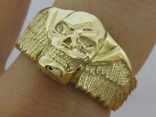 MR25 - Genuine 9ct 9K SOLID Yellow Gold Detailed Winged Skull Biker Ring size 10