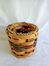 "Woven Basket Pencil Utensil Holder 4"" Wicker Reed Minnesota Amish Made"