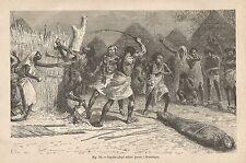 A2361 Mombelines - Supplizio degli schiavi - Xilografia del 1895 - Engraving