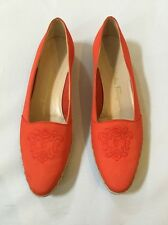 SALVATORE FERRAGAMO Italy Coral Espadrille Slip On Loafer Flats Shoes SZ 9