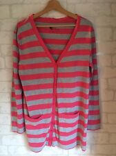 SECRET POSSESSIONS Women's Size 12-13 Pink Grey Stripe Cardigan  L4675