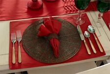Beaded Round Red & Green Christmas Holiday Placemat