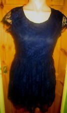 CLUB L BEAUTIFUL NAVY LACE LINED CAP SLEEVE DRESS SIZE 16 BNWT