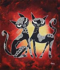 Indonesian Hand Dyed Dye Twin Cats Cotton Batik Panel