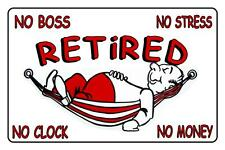 RETIRED STICKER RED For Car Caravan Trailer Truck Van OR Boat,