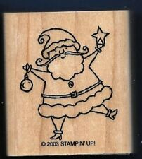 SANTA CLAUS FACE STAR ORNAMENT Stampin' Up! 2003 Holiday Tag Wood Rubber Stamp
