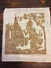 "Thai~Nang Sida, Wife of Phra Ran~Rice Paper Art~Brown~20.5""x23""~Temple Rub"