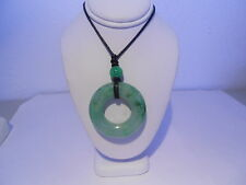apple green jade donut / leather necklace