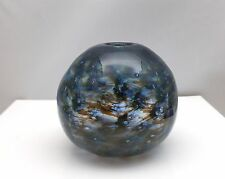 Small Round Blue Green Orb Vase With Controlled Bubbles  Signed Leon