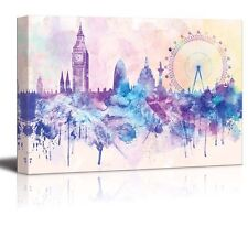 City of London with the Big Ben and the London Eye - Canvas Art  - 16x24 inches