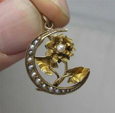 Art Nouveau Pendant Flower Moon Pearl 12K Gold c1890 Antique Victorian Necklace
