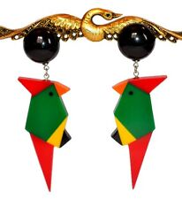 EXQUISITE FRENCH RESIN DANGLING CLIP ON PARROT BIRD EARRINGS --MULTICOLOR
