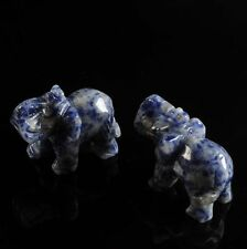 w15117 Two carved sodalite elephant figurine