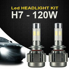 2x H7 120W 12000LM COB LED Headlights Lights Car Truck Bulb Kit White Beam 6000K