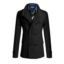 2017 New Men's Winter Warm Double Breasted Trench Coat Peacoat Long Jacket Tops