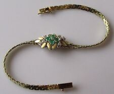 SECONDHAND 14CT YELLOW GOLD EMERALD DIAMOND FLOWER BRACELET 6 14inches.