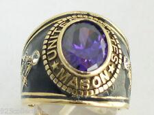 12X10 mm United States February Purple CZ Stone Mason Masonic Men Ring Size 11