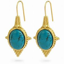 """Egyptian Jewelry Turquoise Revival Earrings 22 Karat Gold Plated 1-1/2"""" Long"""
