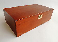 BRAND NEW LARGE HANDMADE BROWN WOODEN STORAGE BOX FOR CHESS PIECES