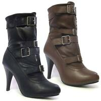 Ladies High Heels Boots New Womens Biker Ankle Riding Winter Fur Army Shoes Size