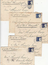 Stamps NSW 2&1/2d blue group of 5 covers all with different ship name to UK