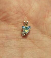 Solid 14k White Gold Trillion Cut Diamond Moonstone Pendant Necklace Trilliant