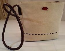 RELIC Crossbody Shoulder Bag Woven Jute Straw Braided Leather Trim Tan /Brown