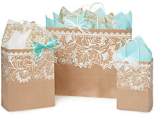 125 Brown Kraft paper gift shopping bags assortment lace print  wholesale USA