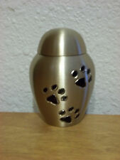 Gold Dome w/Black Paw Prints Solid Brass Keepsake Token Mini Pet Urn~ Cat or Dog