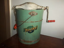 Antique Alaska Ice Cream Freezer Vintage Hand Crank 2 Qt Wood Bucket Complete