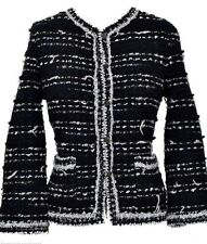 Chanel CC Logo Black White Tweed Boucle Lesage Fringe Jacket 40 $3895 05A