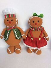SET/2 STANDING PLUSH GINGERBREAD MAN&GIRL CANDY THEME XMAS DECOR WREATH GIFT BOW