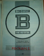 BAD COMPANY Fame and Fortune 1986 UK Poster size Press ADVERT 16x12""