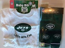 *GIFT PACK* New York Jets NFL Baby Bib & Football Kids Knit Hat and Gloves Set