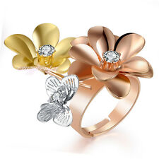 Fashion Cubic Zirconia Adjustable Flower Butterfly Cocktail rings Tri-color