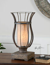 """18"""" BRONZE METAL CAGE TABLE LAMP DISTRESSED WOOD FOOT"""