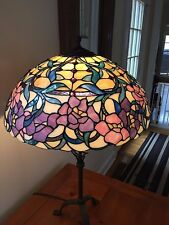 "Vintage Tiffany Style Stained Glass Lamp Shade 20"" Beautiful Floral Detail"