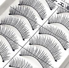 &* 10Pairs Long Cross False Eyelashes Makeup Natural Fake Thick Black Eye Lashes